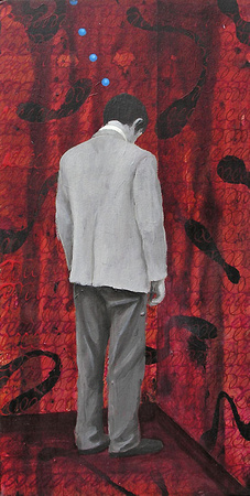 "Man Standing, Facing Corner. 2004; 11.75"" x 6"". Mixed media on mounted paper."